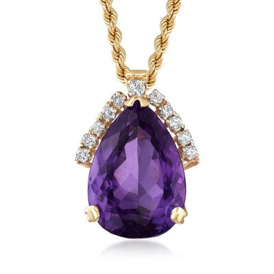 C. 1980 Vintage 18.35 Carat Amethyst and .50 ct. t.w. Diamond Pendant Necklace in 14kt Yellow Gold, , default