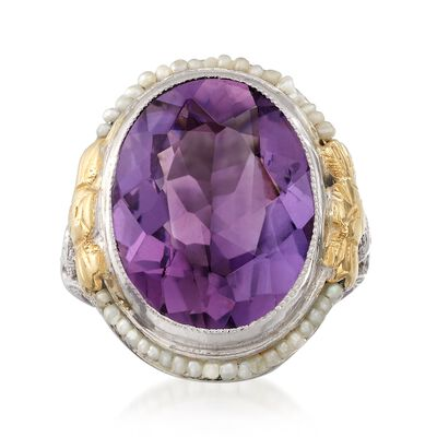 C. 1950 Vintage 7.20 Carat Amethyst and Cultured Seed Pearl Ring in 14kt Two-Tone Gold, , default
