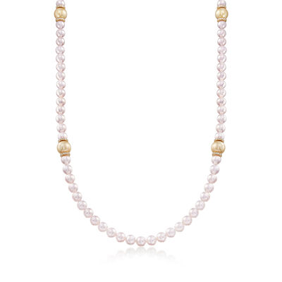 Mikimoto 7-11mm White Akoya and Golden South Sea Pearl Necklace with Diamond Accents in 18kt Gold, , default