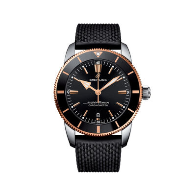 Breitling Superocean Heritage II Men's 44mm Stainless Steel Watch - Black Dial and Rubber Strap, , default