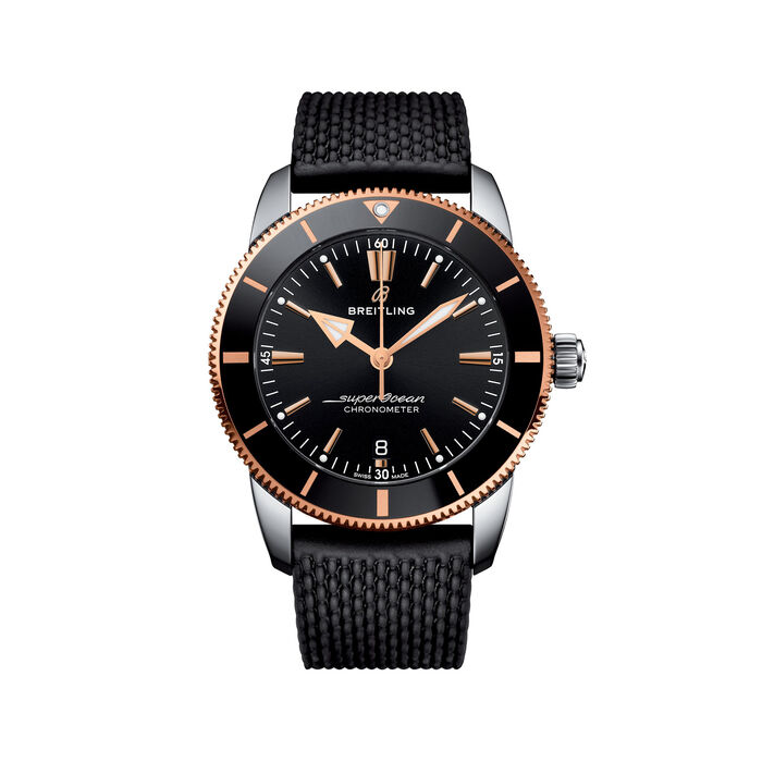 Breitling Superocean Heritage II Men's 44mm Stainless Steel Watch - Black Dial and Rubber Strap , , default
