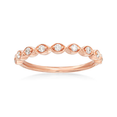 Henri Daussi .17 ct. t.w. Diamond Wedding Ring in 14kt Rose Gold, , default