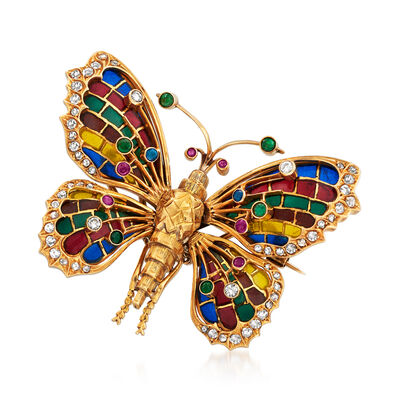 C. 1950 Vintage .66 ct. t.w. Diamond and .44 ct. t.w. Multi-Gemstone Butterfly Pin with Multicolored Enamel in 18kt Yellow Gold