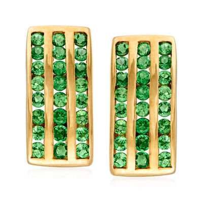 C. 1980 Vintage 1.20 ct. t.w. Tsavorite Three-Row Earrings in 14kt Yellow Gold