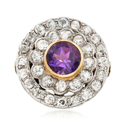 C. 1910 Vintage 2.20 ct. t.w. Diamond and 1.75 Carat Amethyst Cocktail Ring in Palladium, , default
