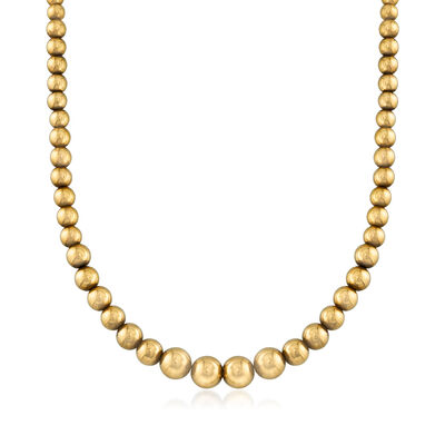 C. 1980 Vintage 18kt Yellow Gold Graduated Bead Necklace