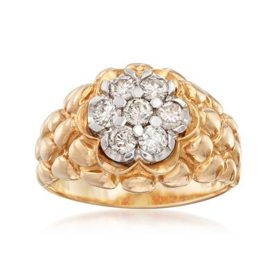 C. 1980 Vintage 1.15 ct. t.w. Diamond Cluster Ring in 14kt Yellow Gold, , default