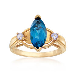 C. 1990 1.75 Carat Blue Topaz and .10 ct. t.w. Purple Tanzanite in 10kt Yellow Gold, , default