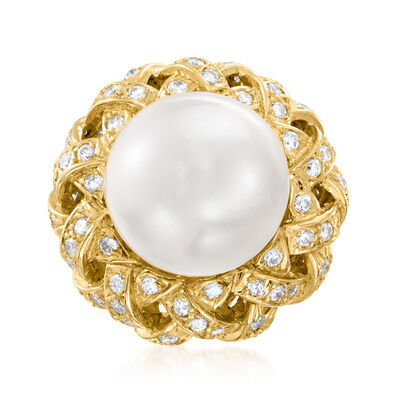 C. 1980 Vintage 13mm Cultured South Sea Pearl and 1.18 ct. t.w. Diamond Cocktail Ring in 18kt Yellow Gold