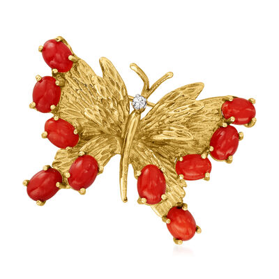 C. 1970 Vintage Red Coral Butterfly Pin with Diamond Accent in 14kt Yellow Gold
