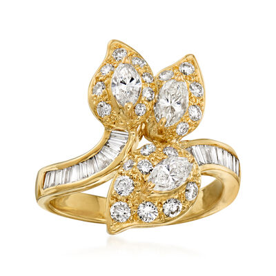 C. 1980 Vintage 1.55 ct. t.w. Diamond Leaf Ring in 18kt Yellow Gold
