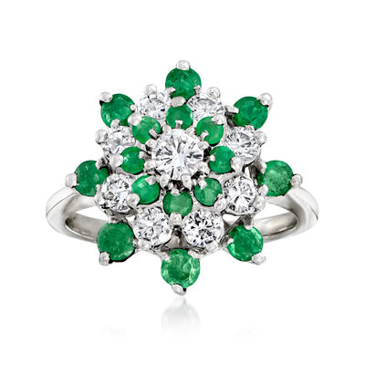 C. 1980 Vintage .90 ct. t.w. Emerald and .85 ct. t.w. Diamond Cluster Ring in 14kt White Gold