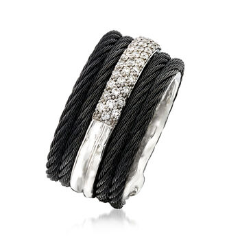 "ALOR ""Noir"" .28 ct. t.w. Diamond Black Stainless Steel Cable Ring with 18kt White Gold. Size 7, , default"