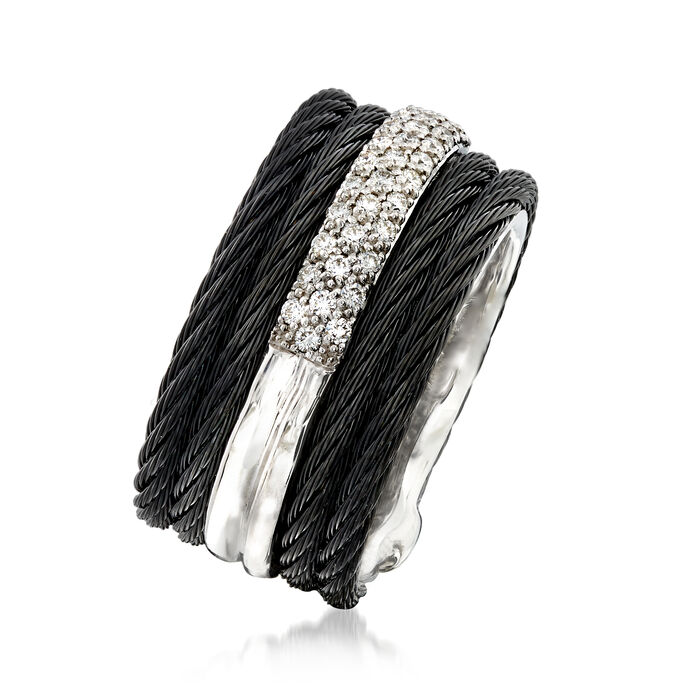 """ALOR """"Noir"""" .28 ct. t.w. Diamond Black Stainless Steel Cable Ring with 18kt White Gold"""