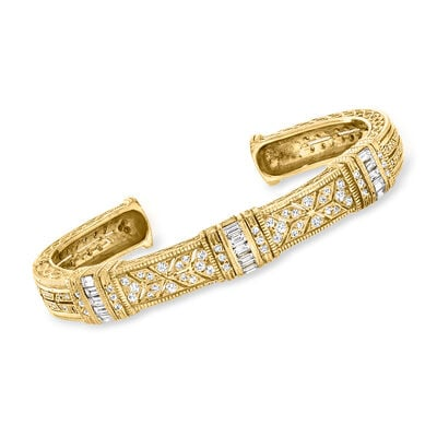 C. 1980 Vintage 2.50 ct. t.w. Baguette and Round Diamond Cuff Bracelet in 18kt Yellow Gold