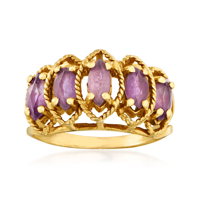 C. 1980 Vintage 1.00 ct. t.w. Simulated Amethyst Ring in 14kt Yellow Gold