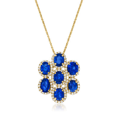 C. 1990 Vintage 5.22 ct. t.w. Sapphire Cluster Pendant Necklace with .56 ct. t.w. Diamonds in 18kt Yellow Gold