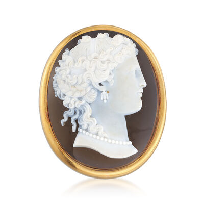 C. 1950 Vintage Brown Agate Cameo Pin in 18kt Yellow Gold