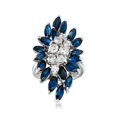 C. 1990 Vintage 2.70 ct. t.w. Sapphire and .75 ct. t.w. Diamond Cluster Ring in 14kt White Gold, , default