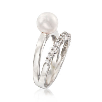 Mikimoto 7mm A+ Akoya Pearl and .23 ct. t.w. Diamond Ring in 18kt White Gold. Size 6.5