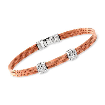 "ALOR ""Classique"" Diamond Double-Station Rose Cable Bracelet with 18kt White Gold, , default"