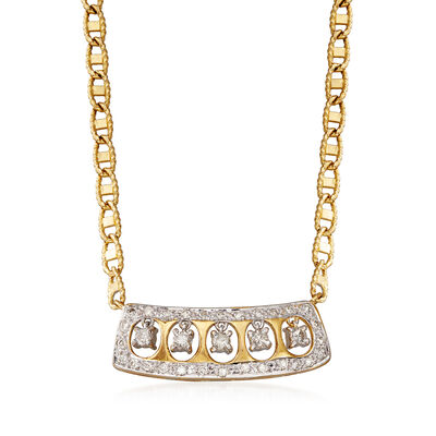 C. 1990 Vintage .65 ct. t.w. Diamond Necklace in 14kt Yellow Gold