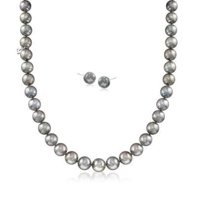 Mikimoto 9-15mm A+ Black South Sea Pearl Jewelry Set: Necklace and Earrings in 18kt White Gold