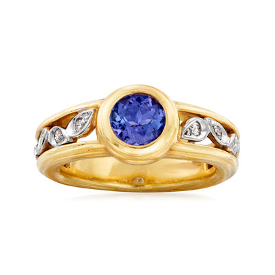 C. 1980 Vintage Seidengang .80 ct. t.w. Tanzanite and .15 ct. t.w. Diamond Ring in 18kt Two-Tone Gold, , default