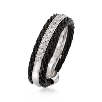 ALOR Noir .12 Carat Total Weight Diamond and Black Stainless Steel Cable Band with 18-Karat White Gold. Size 7, , default