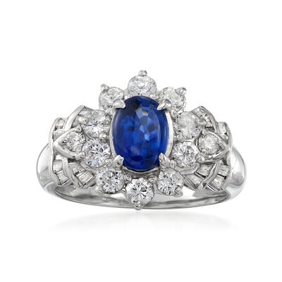 C. 1990 Vintage 1.32 Carat Sapphire and 1.02 ct. t.w. Diamond Ring in Platinum