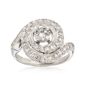 C. 1970 Vintage 1.35 ct. t.w. Diamond Swirl Ring in 14kt White Gold. Size 5.75, , default