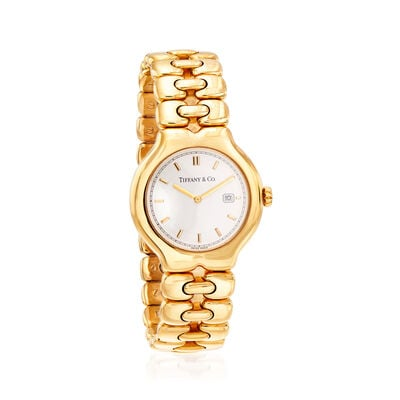 "C. 1990 Vintage Tiffany Jewelry Women's ""Tesoro"" 32mm 18kt Yellow Gold Watch, , default"