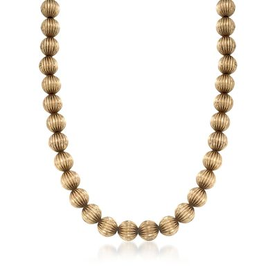 C. 1950 Vintage 14kt Yellow Gold Fluted Bead Necklace, , default