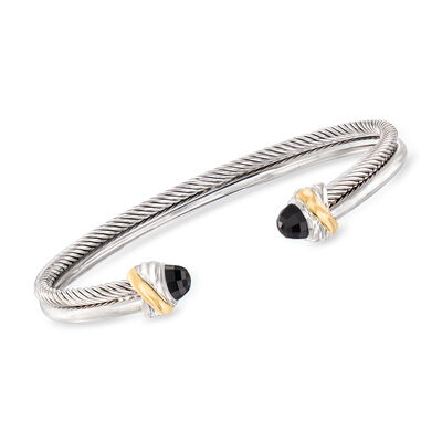 "Phillip Gavriel ""Italian Cable"" 4.5mm Black Onyx Cuff Bracelet in Sterling Silver and 18kt Yellow Gold, , default"