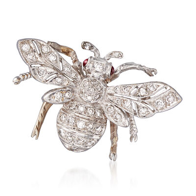 C. 1970 Vintage .40 ct. t.w. Diamond Bee Pin with Ruby Accents in 18kt White Gold, , default