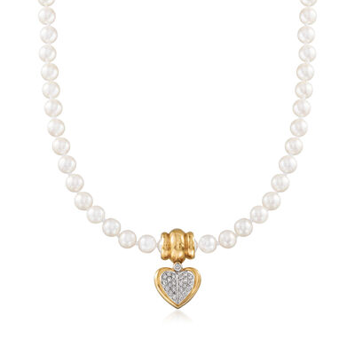 C. 1980 Vintage Chimento 7mm Cultured Pearl and .60 ct. t.w. Diamond Heart Pendant Necklace with 18kt Yellow Gold