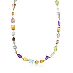 C. 1970 Vintage Multi-Stone Necklace in 18kt Yellow Gold, , default