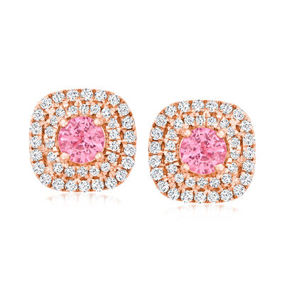 C. 1990 Vintage .85 ct. t.w. Pink Sapphire Earrings with .50 ct. t.w. Diamonds in 14kt Rose Gold