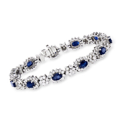 C. 1990 Vintage 7.15 ct. t.w. Sapphire and 5.25 ct. t.w. Diamond Cluster Bracelet in 18kt White Gold