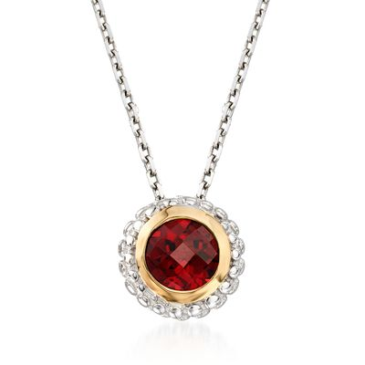 "Phillip Gavriel ""Popcorn"" .50 Carat Garnet Pendant Necklace in Sterling Silver and 18kt Gold, , default"