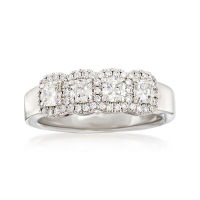 Henri Daussi .72 ct. t.w. Four-Stone Diamond Ring in 18kt White Gold
