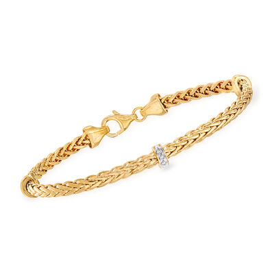 "Phillip Gavriel ""Woven"" Station Bracelet with Diamond Accents in 14kt Yellow Gold"