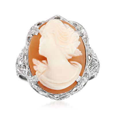 C. 1950 Vintage Pink Shell Cameo Ring in 10kt White Gold