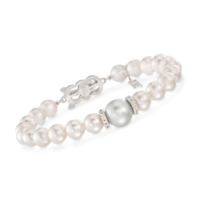 "Mikimoto ""Everyday"" 7-7.5mm a Akoya and 10mm A+ South Sea Pearl Bracelet with .40 ct. t.w. Diamonds in 18kt White Gold"