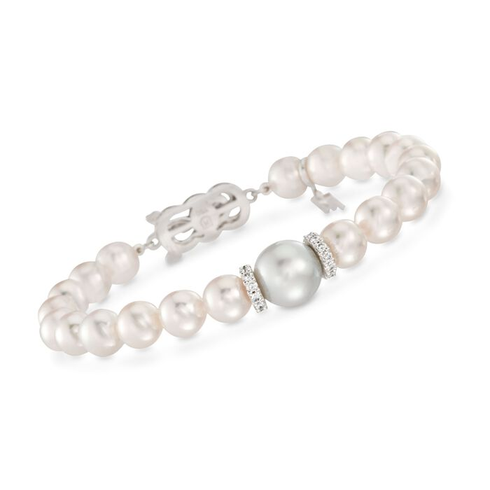 Mikimoto Everyday 7-7.5mm A+ Akoya and 10mm South Sea Pearl Bracelet with .40 Carat Total Weight Diamonds in 18-Karat White Gold. 7""
