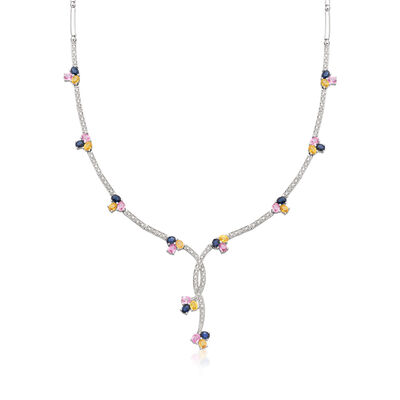 C. 1990 Vintage 7.50 ct. t.w. Multicolored Sapphire and .65 ct. t.w. Diamond Y-Necklace in 14kt White Gold