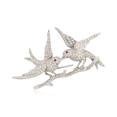 C. 1970 Vintage 1.65 ct. t.w. Diamond Birds on a Branch Pin in 18kt White Gold, , default