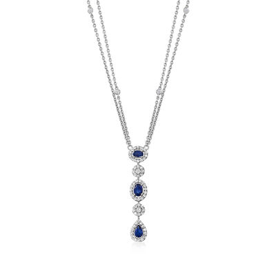 1.40 ct. t.w. Sapphire and 1.05 ct. t.w. Diamond Linear Drop Necklace in 14kt White Gold