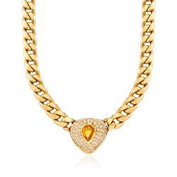 C. 1980 Vintage 3.00 Carat Citrine and 5.70 ct. t.w. Diamond Curb Link Necklace in 18kt Yellow Gold, , default