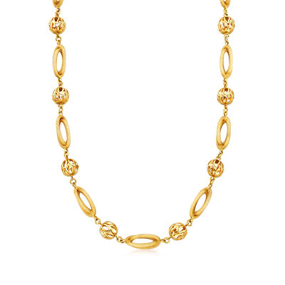 C. 1970 Vintage 18kt Yellow Gold Long Oval-Link Bead Necklace, , default